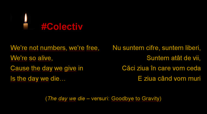 """#Colectiv. """"The Day We Die"""". Refren. Fără comentarii.<span class=""""rating-result after_title mr-filter rating-result-4066""""><span class=""""mr-star-rating"""">    <i class=""""fa fa-star mr-star-full""""></i>        <i class=""""fa fa-star mr-star-full""""></i>        <i class=""""fa fa-star mr-star-full""""></i>        <i class=""""fa fa-star mr-star-full""""></i>        <i class=""""fa fa-star mr-star-full""""></i>    </span><span class=""""star-result"""">5/5</span><span class=""""count"""">(3)</span></span>"""